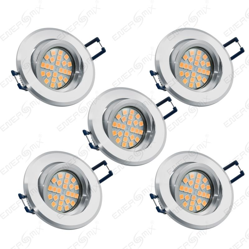 LED Einbauleuchten-Set - Rahmen Aluminium schwenkbar / GU10 Fassung ...