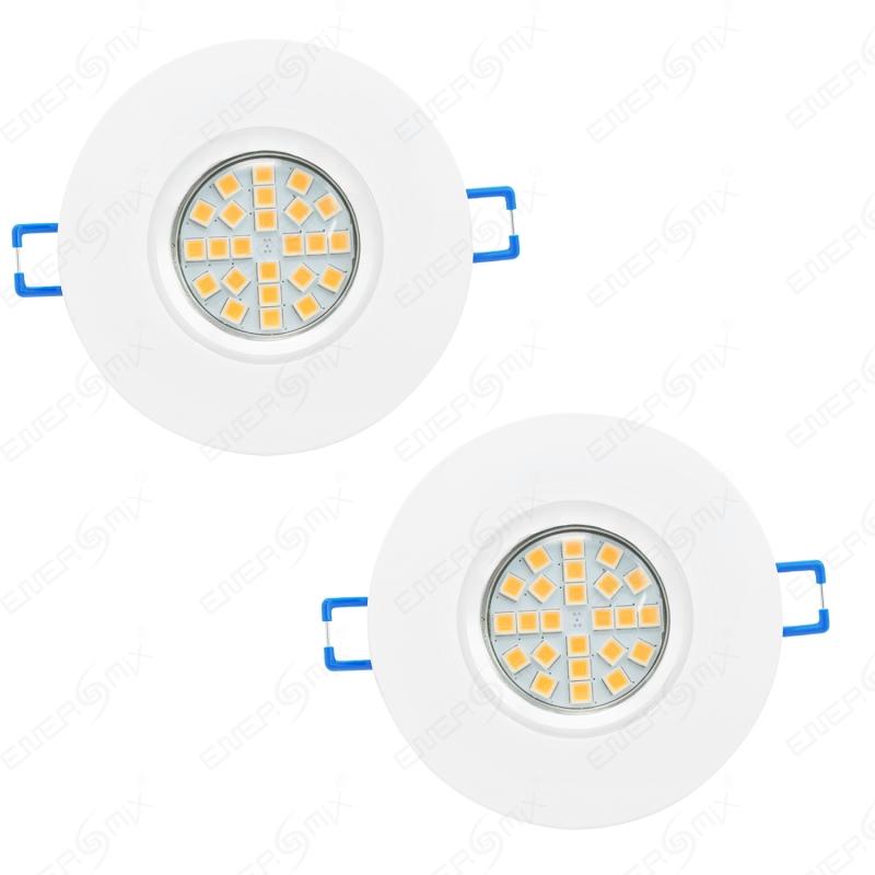 LED Einbauleuchten-Set - Rahmen Aluminium weiß / GU10 Fassung / SMD ...