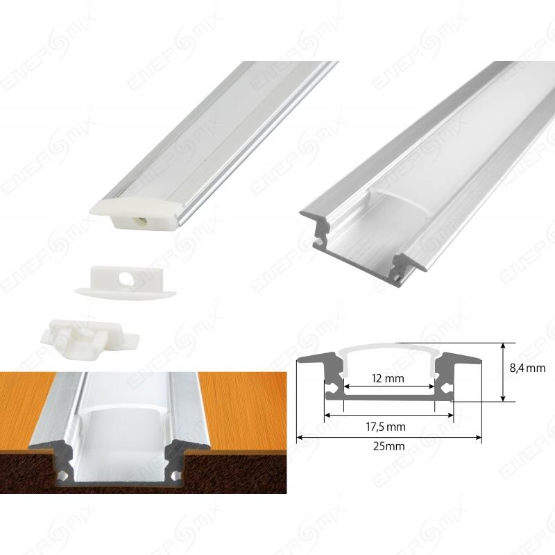 aluminium led schiene fuer deckenanbringung von strips. Black Bedroom Furniture Sets. Home Design Ideas