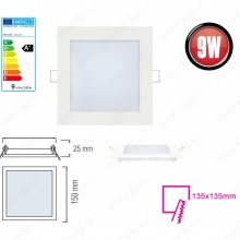 LED Panel Ultra Slim 9 Watt-eckig-Weiß Neutralweiß