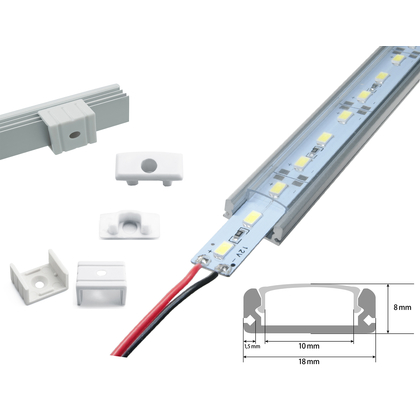 LED Strip Alu druchsichtig+Alu Strip LED Alu Strip Blau Profil A Transparent