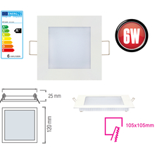 LED Panel Ultra Slim 6 Watt-eckig-Weiß Neutralweiß